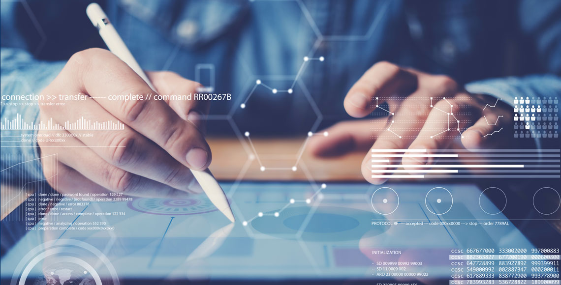 Concept of virtual diagram,graph interfaces,digital display,connections icon.Man using stylus pencil on display of contemporary electronic tablet.Blurred background. Horizontal.